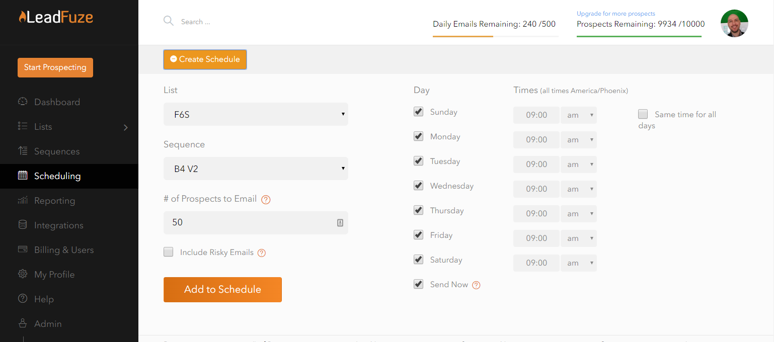 LeadFuze Scheduling Page