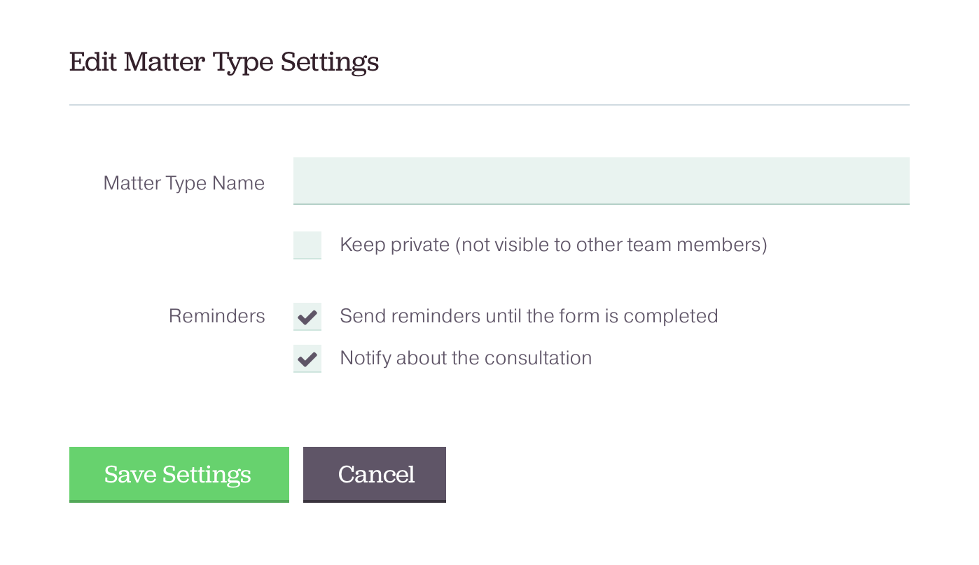 Reminder settings in ClientSherpa