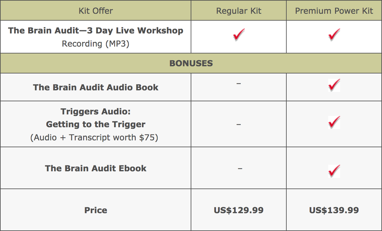 The Brain Audit Kit Pricing